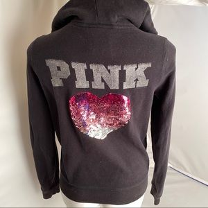 Victoria's Secret PINK black sequin heart hoodie